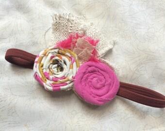 Shabby Flower Rosette Lace Headband