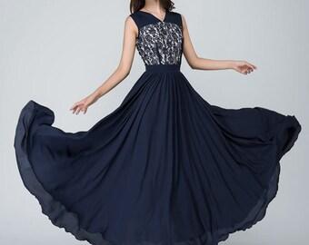 chiffon dress maxi dress women long dress prom dress 1559