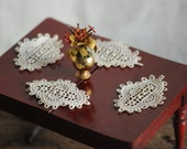 dollhouse miniature placemats, real antique lace, doily, coasters