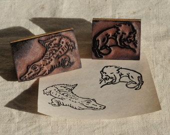 vintage animal rubber stamps, lion, crocodile, school stamps