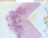 VALENTINES SALE Vintage1950s Four Handkerchiefs,Cotton Linen,Crochet Lace Butterfly,Floral Embroidery, Applique, Ladies Vanity,White Purple
