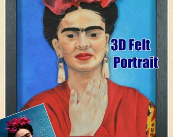 Framed Custom 3D Felt Portrait-One Face