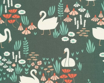 SALE - Cloud 9 Fabrics - Park Life Collection - Royal Swans in Green Organic