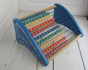 Vintage Playskool Abacus 10 Rows Rainbow