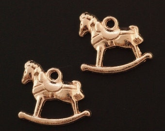 5 Rose Gold Plated Rocking Horse Charms - 20mm X 16mm - Matching Jump Rings Included - 100% Guarantee