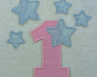 Number 1 with Stars Iron on Fabric Embroidered Iron On Applique Patch Ready to Ship