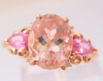 Vintage 10k Rose Gold 2.5ct Morganite & Pink Topaz Ring Size 7.25 Fine Jewelry Jewellery