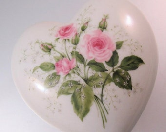 10% OFF SALE AVON 1976 President's Celebration Heart Rose Porcelain Trinket Jewelry Box Made in Spain Vintage