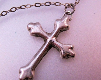 """Renaissance Cross Pendant 18"""" Chain Necklace Sterling Silver Vintage Jewelry Jewellery"""