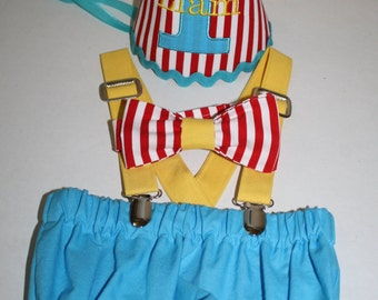Circus First Birthday Outfit for Boys, cake smash outfit, red white stripes with aqua blue accents, 1st birthday, boys diaper cover