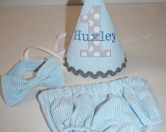 blue seersucker baby boys first birthday outfit, boys 1st birthday outfit, cake smash set, smash cake 1st birthday hat, boys birthday outfit