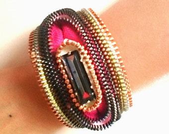 Space Rainbow Zipper Cuff Bracelet