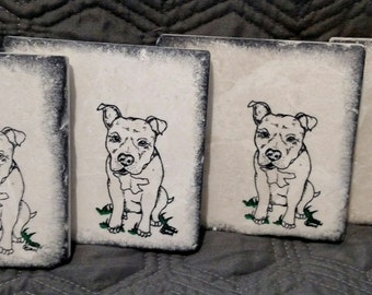 Pit Bull Puppy Coasters