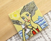 Collectable Tiny Miniature Acrylic Original Painting on Canvas Mother and Child Dollhouse Miniature