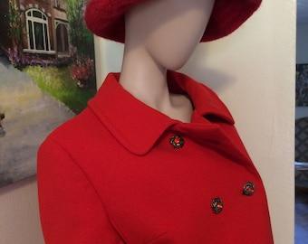 Huge Vintage 60s Cherry Red Mod Floppy Wool Bucket Hat