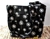 Camera Bag  / Black & White Dandelion Black Waterproof canvas, adjustable messenger, by Darby Mack, Made in the USA