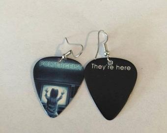 Poltergeist guitar pick earrings, guitar pick earrings, earrings, halloween earrings, guitar picks, costume earrings, scary earrings