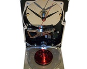 FREE SHIPPING! Hard Drive Clock with Shiny Red Disk Spindle Accent. Got Valentine Geek Gift?