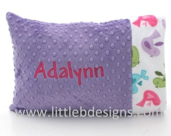 Personalized Minky Toddler Pillow Case and Pillow- Over 30 Minky Colors to Choose From