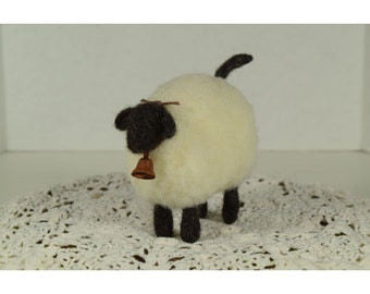Whimsical Wooly Suffolk Sheep With Rusty Bell Needle Felt Wool Farm Animal