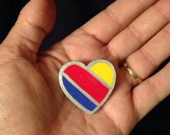 Southwest Airlines heart pin/ hand painted wood