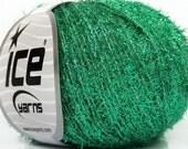 Emerald Green Metallic Foam - Ice 42242 - 30 Gram 109 Yards Fine Metal Tinsel Yarn - Glitzy Carry Along Metallic Short Eyelash Yarn