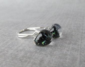 Small Black Sparkle Earrings, Black Dangles, Earrings Lampwork, Black Earrings, Black Glass Drop Earrings, Sterling Silver Wire Earrings