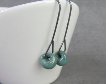 Light Bluegrass Green Earrings Minimalist, Modern Green Dangles, Dark Sterling Silver Wire Earrings, Green Lampwork Earring, Oxidized Silver