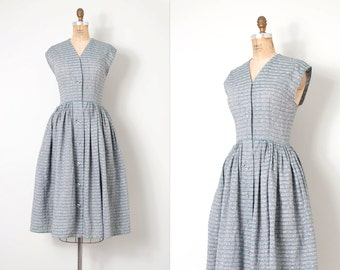 vintage 1950s dress / striped 50s dress / Formentera