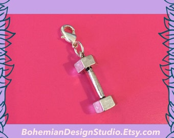 Dumbbell clip charm, fitness charm, fitness gift, dumbbell charm, motivational charm,UK seller