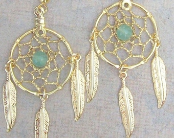 ON SALE DREAMIN in Gold and Green 1 Aventurine earrings smaller stone version