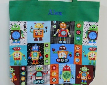 Embroidered tote bag, toy bag, personalized tote bag, kids tote bag,  Robot Canvas Tote bag (large) LBTB399 - RB