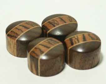 Set of 4 Walnut and Zebrawood Guitar Knobs (7/8 inch dia x 5/8 height)
