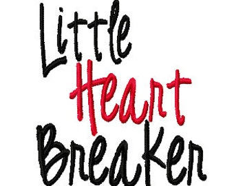 Little Heart Breaker 4x4 5x7 6x10 Machine Embroidery Design Instant Download shirt bib Valentines Day boy girl baby shower gift blanket love