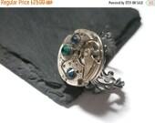 Valentines sale Steampunk Ring Steam Punk Jewellery Vintage Watch Ring Emerald Green Dark Indigo Swarovski Brass clockwork copper filigree a