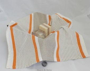 Fall Orange Cotton Tea Towel, Farmhouse towel, French Inspired Grainsack Towel
