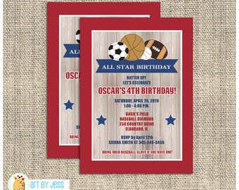 All Stars Sports theme rustic red and blue Boy Birthday Invitations any age ~ soccer, baseball, basketball, football - Print your own
