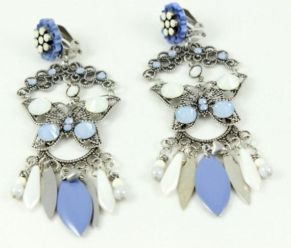 clip on earrings butterfly air blue opal white opal by