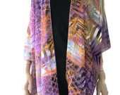 Kimono cardigan - Shades of lilac mauve and burnt orange- Chiffon kimono with abstract print-Ruana cardigan -Layering piece-Many colors
