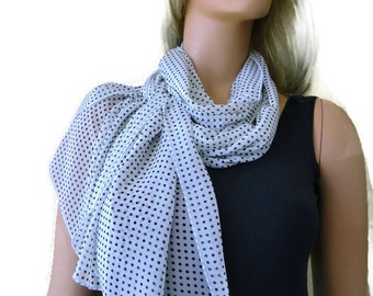 White and blackPolka dot- long chiffon scarf with tiny polka dots-Parisian Neck Tissu