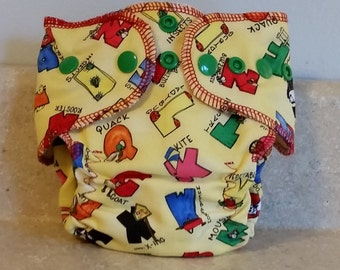 Fitted Preemie Newborn Cloth Diaper- 4 to 9 pounds- Alphabet on Yellow- 16022