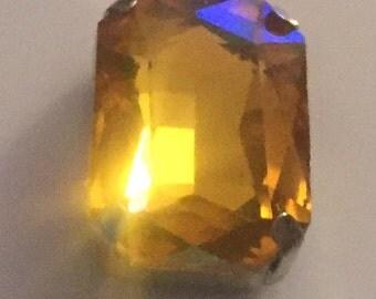 14x10mm Octagon Topaz Vintage Crystal Bead