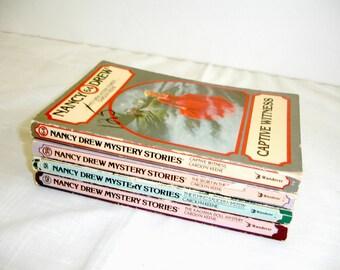 Nancy Drew Books Set of 4 Paperback Vintage Books 1980 1981 Mystery