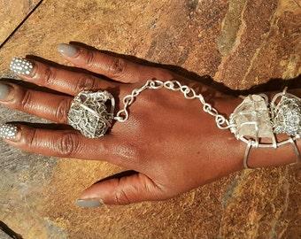 Silver pyrite & quartz goddess bracelet