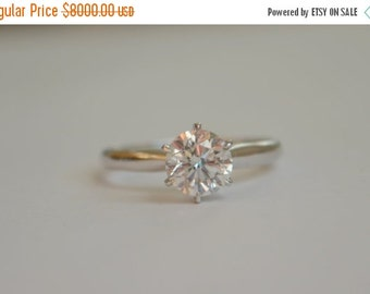 SALE Rescue Sale - 14 K White Gold Engagement Ring with 1 Carat Diamond