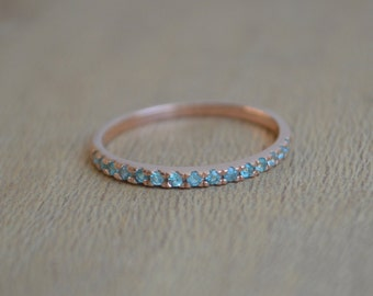Rose Gold Eternity Band, paraiba tourmaline eternity ring, dainty eternity ring, colored gemstone eternity ring, gifts for moms