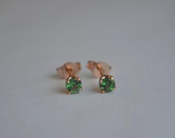 Chrome Tourmaline Stud Earrings in 14 K Rose Gold
