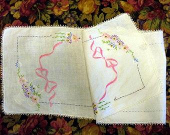 Vintage Embroidered Table Runner Dresser Scarf Linen Cotton 1940s Flower Bow Pink