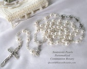 Personalized or Plain Swarovski Pearls Tiny Communion Rosary