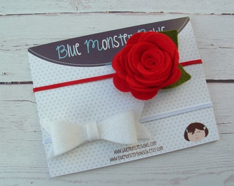 White Felt Bow and Red Abby Flower on Skinny Elastic Headbands